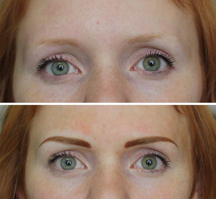перманентный макияж бровей фото до и после