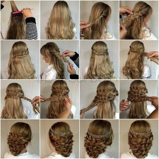 Красивая прическа на средние волосы