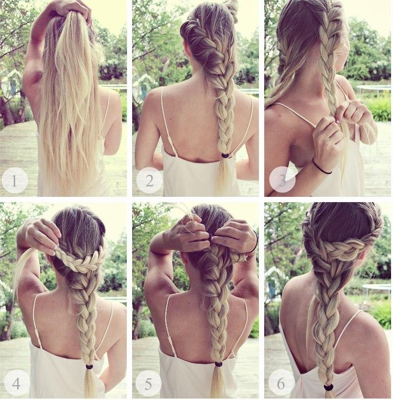 Романтическая коса на длинные волосы